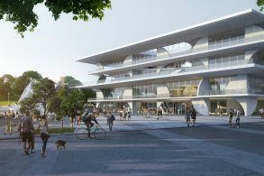 方案   坑梓文化科技中心:建筑作为城市公园 / WAU建筑事务所+华南理工大学建筑设计研究院