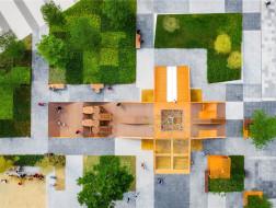 像素格的游戏迷宫:Tetris广场 / Lab D+H