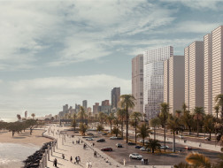OMA住宅方案:Wafra大厦,建筑体量自下而上由折变平