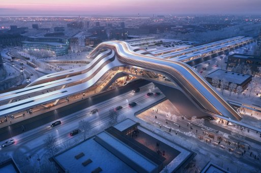 快讯 | 扎哈事务所最新交通枢纽站方案获竞赛一等奖