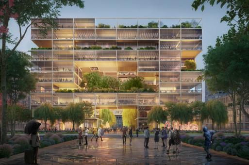 """福斯特事务所公布阿里巴巴上海总部方案,像素化框架搭建""""透明""""办公场所"""
