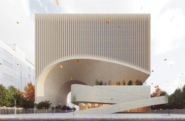马什哈德建筑工程组织总部:贯穿建筑的曲面空间 / NextOffice