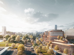 3XN赢得斯德哥尔摩一办公建筑竞赛,弯曲的立面建立新的城市连接