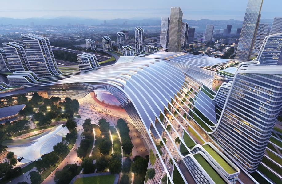 成都天府新站TOD设计方案:站城一体的枢纽公园 / Aedas等