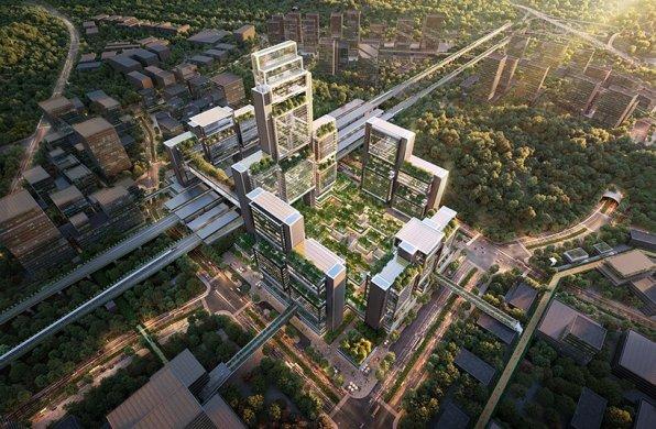 福斯特事务所为深圳光明设计综合枢纽,创造森林般的城市门户
