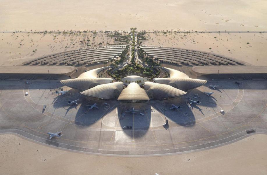 福斯特事务所公布红海国际机场方案,沙丘状体量回应环境纹理