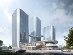 在建方案   招商蛇口西安丝路中心:对称而立的新城门户 / 三益中国
