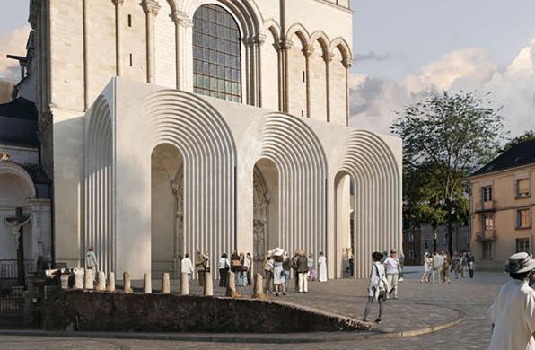 隈研吾将改造法国一教堂入口,以轻盈手法诠释中世纪建筑特征