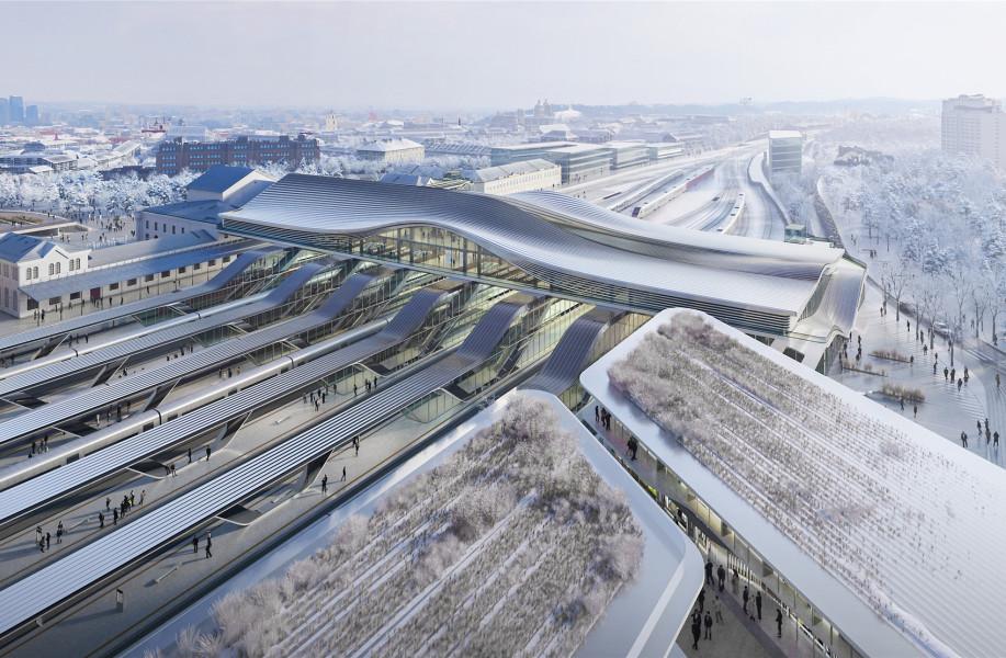 扎哈事务所获胜方案:维尔纽斯火车站新候车厅,将城市消极屏障转化为连接点